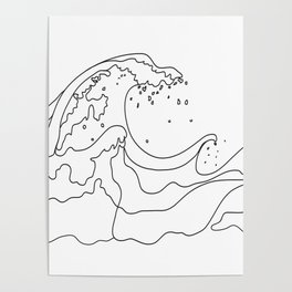Minimal Line Art Ocean Waves Poster
