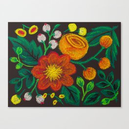 Chalk Flowers - Red and Orange Canvas Print