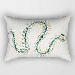 Snake Skeleton – Emerald & Gold Rectangular Pillow