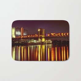 Louisiana by night on the river Bath Mat