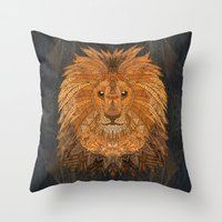 the lion king Throw Pillows featuring King Lion by ArtLovePassion