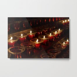 Prayer Candles With a Shallow Depth of Field Metal Print