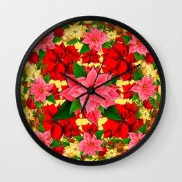 DECORATIVE  RED & PINK POINSETTIAS CHRISTMAS GREEN ART Wall Clock