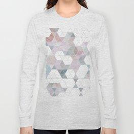 Abstract Snow on Soft Geometry #abstractart #winterart Long Sleeve T-shirt