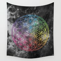 sacred geometry Wall Tapestries featuring Sacred Geometry Universe 6 by Gaudy