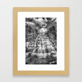 winter falls in B&W Framed Art Print