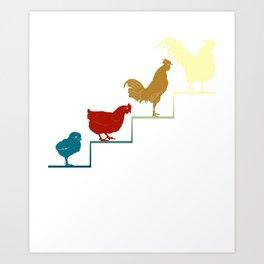 Chicken Chicks Farming Farmer Ranch Farm Tractor Funny Design Art Print
