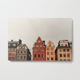 Stockholm, Sweden | Gamla Stan | old buildings | bright colors | colored houses | art print | travel photography | city print   Metal Print