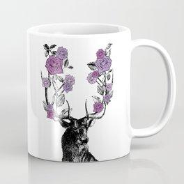 The Stag and Roses | Deer and Flowers | Purple | Vintage Stag | Vintage Deer | Antlers | Woodland | Coffee Mug