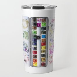 Messy Watercolor Painting Palette Photograph Travel Mug