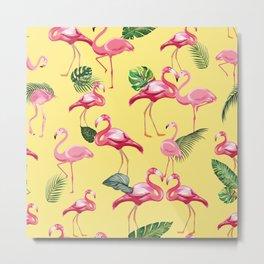 Flamingos Love Pattern 10 Metal Print