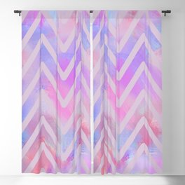 Geometrical pink teal lilac watercolor chevron Blackout Curtain