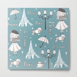 Paris Girl - Blue Metal Print