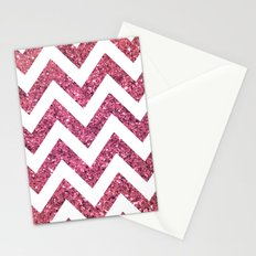 PINK GLITTER CHEVRON  Stationery Cards