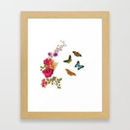 Butterflies and flowers arrangement isolated on white Framed Art Print