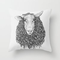 sheep Throw Pillows featuring Sheep by Thea Nordal