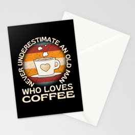 Old Man Who Loves Coffee Stationery Cards