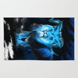 Blue Horned Lion Rug