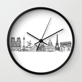 Paris Landmarks by the Downtown Doodler Wall Clock