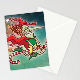 Halloween witch flying on a Christmas candy cane Stationery Cards