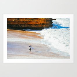 Surfer go-out, Winkipop/Bells Beach, Victoria, Australia Art Print