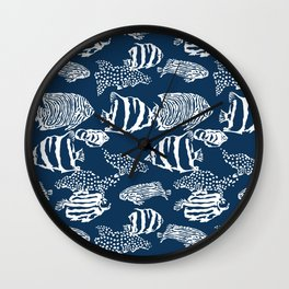 fish pattern vector illustration with stripes and dots Wall Clock
