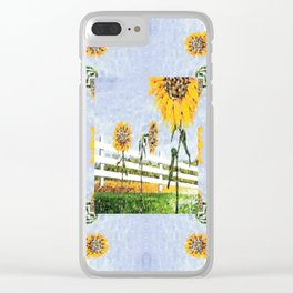 Sunflower Pattern Clear iPhone Case