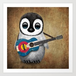 Baby Penguin Playing Colorado Flag Guitar Art Print