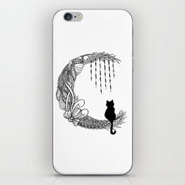 Black Cat Crescent Moon iPhone Skin