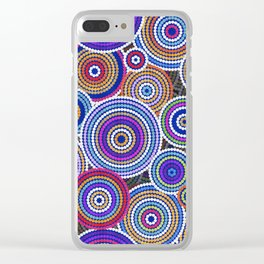 Colorfull Aboriginal Dot Art Pattern Clear iPhone Case