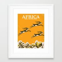 travel poster Framed Art Prints featuring Africa vintage travel poster by Nick's Emporium