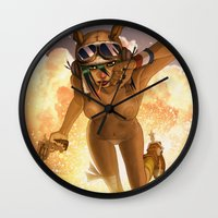 tank girl Wall Clocks featuring Tank by PeppebBox
