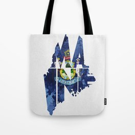 Maine Typographic Flag Map Art Tote Bag