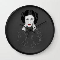 leia Wall Clocks featuring Leia by Eda ERKOVAN