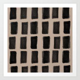 Brush Strokes Vertical Lines Black on Nude Art Print