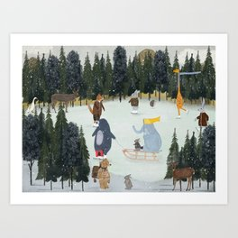little nature on ice Art Print