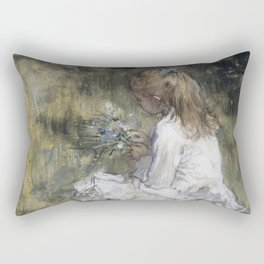 A Girl with Flowers on the Grass, 1878 by Jacob Maris Rectangular Pillow