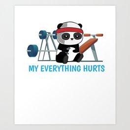 Panda Exercising Sports sarcasm Gift Art Print