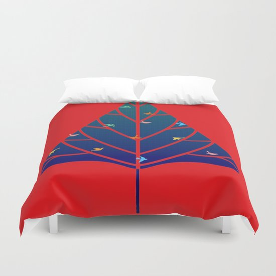 Tree with birds (blue-red) Duvet Cover