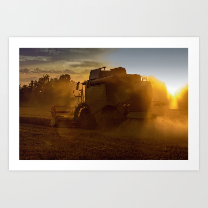 Combine harvesters in use Art Print by tanjariedel