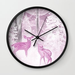 Winter Fawns in Rose Wall Clock