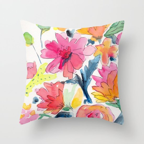 Floral watercolor illustration pattern Throw Pillow by Laura Dro Society6