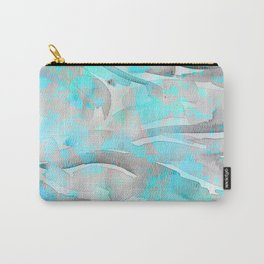 Abstract modern aqua gray watercolor brushstrokes pattern Carry-All Pouch