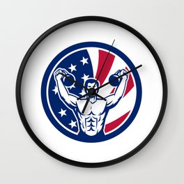 American Physical Fitness USA Flag Icon Wall Clock