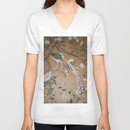 Antique French Chinoiserie in Tan & White Unisex V-Neck