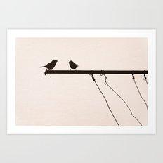 Sparrow Chat Art Print