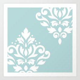 Scoll Damask Art I White on Duck Egg Blue Art Print