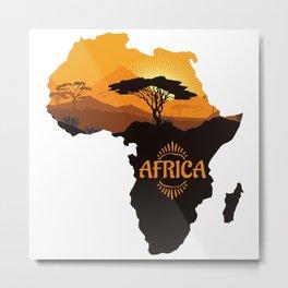 Africa Silhouette Metal Print