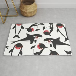 Cartoon grampus orca, killer whale, sea wolf Kawaii Rug