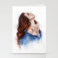 lindsay lohan Stationery Cards featuring Lindsay by Inna Nova